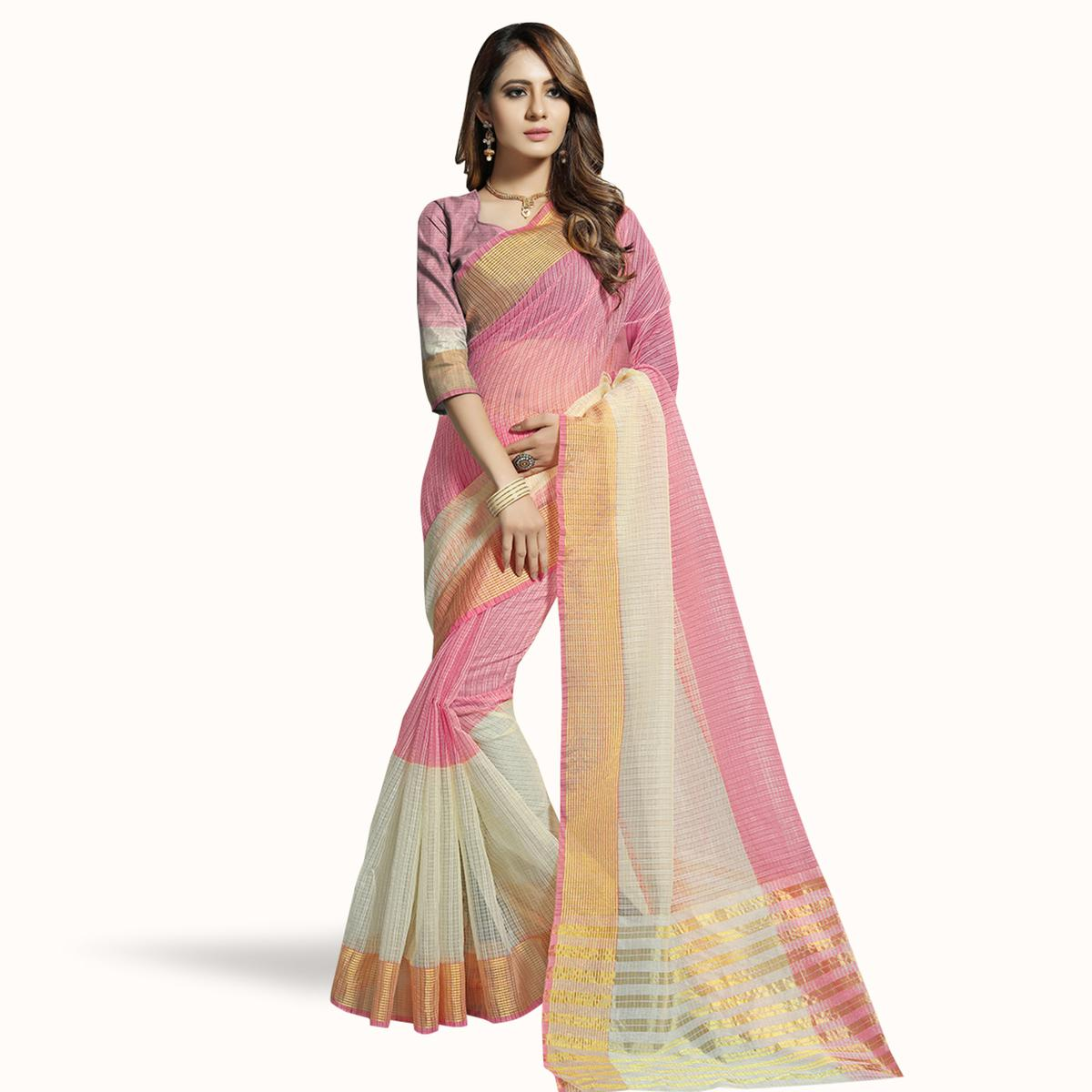 Beautiful Pink-Off White Colored Festive Wear Woven Chanderi Silk Saree