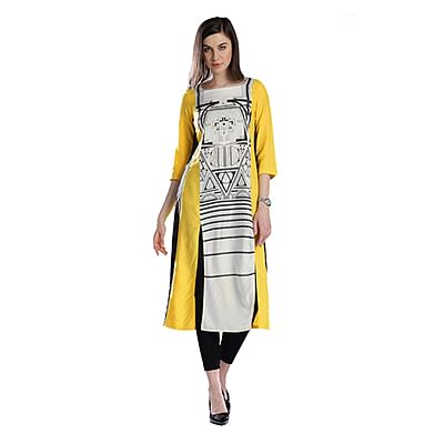 Yellow Printed Casual Wear American Crape Kurti
