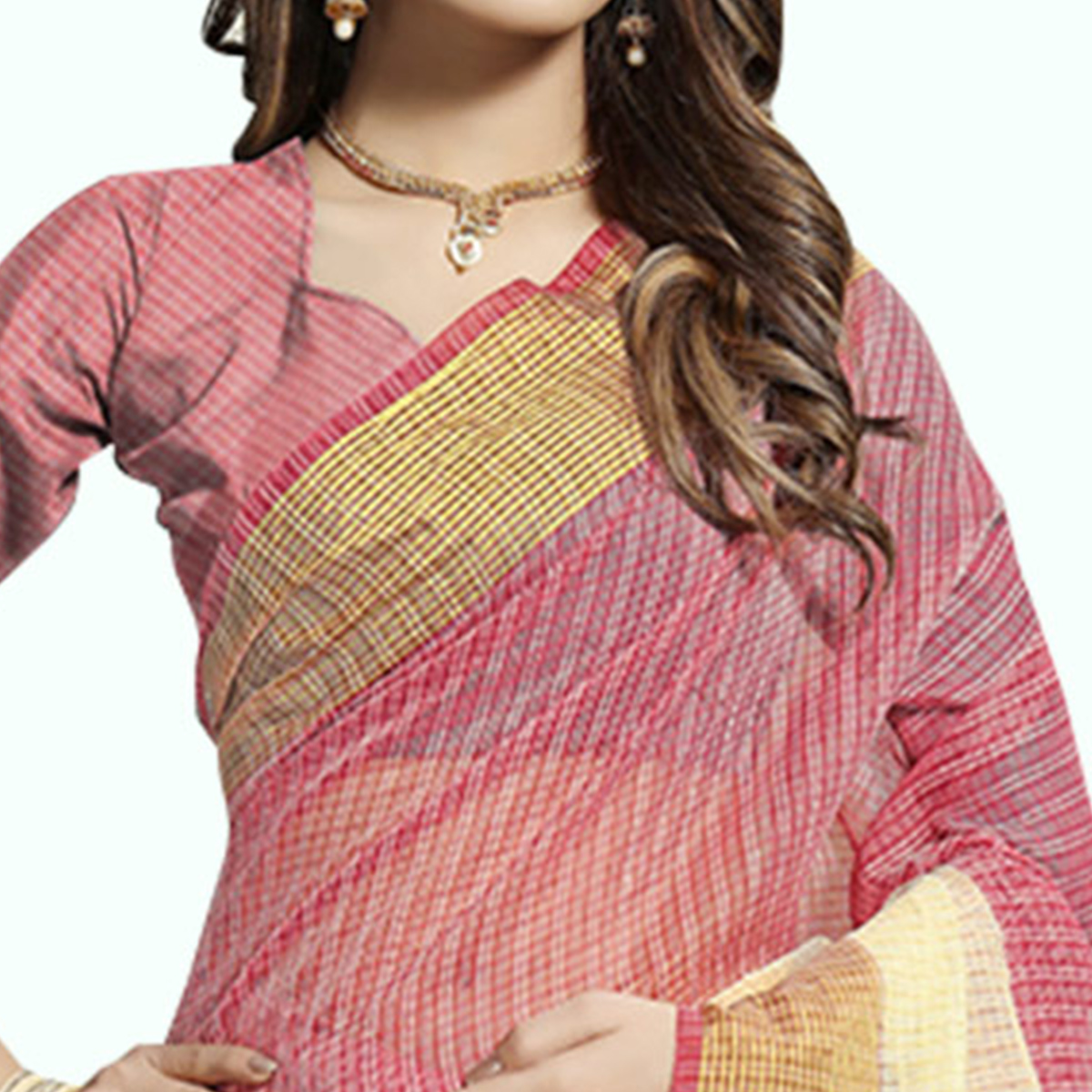 Blooming Pink-Off White Colored Festive Wear Woven Chanderi Silk Saree