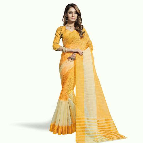Charming Yellow-Off White Colored Festive Wear Woven Chanderi Silk Saree