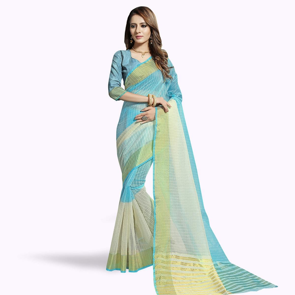 Jazzy Sky Blue-Off White Colored Festive Wear Woven Chanderi Silk Saree