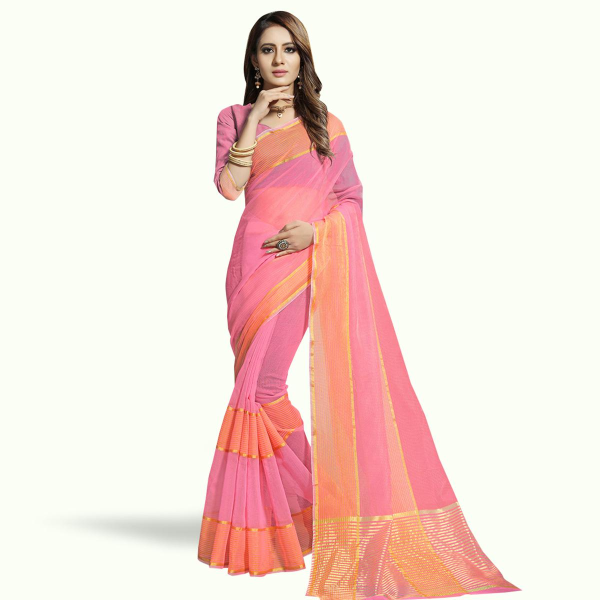 Delightful Pink Colored Festive Wear Woven Chanderi Silk Saree