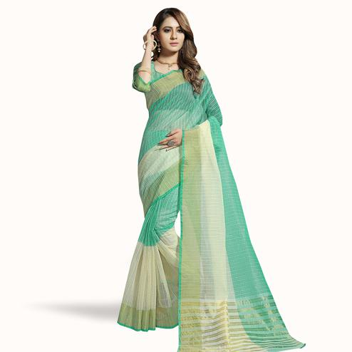 Engrossing Turquoise Green-Off White Colored Festive Wear Woven Chanderi Silk Saree