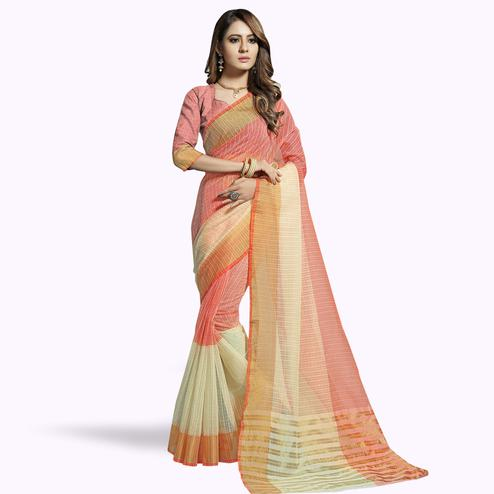 Prominent Pink-Off White Colored Festive Wear Woven Chanderi Silk Saree