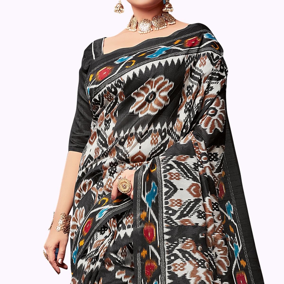 Adorable Black Colored Casual Wear Printed Art Silk Saree