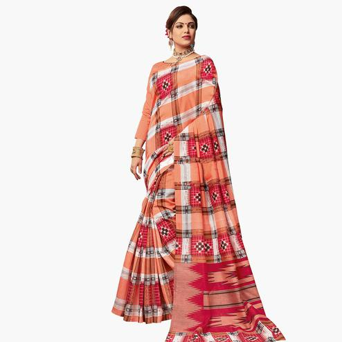 Glorious Peach Colored Casual Wear Printed Art Silk Saree