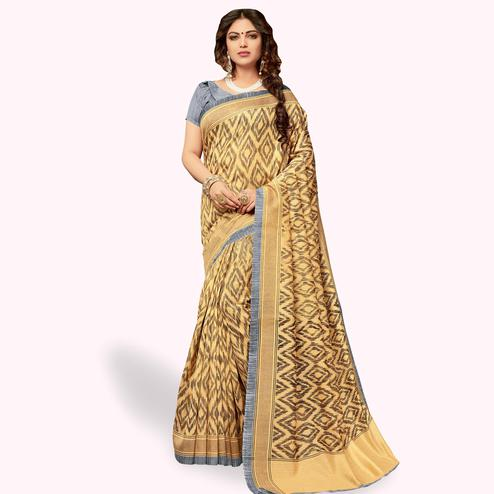 Attractive Beige Colored Casual Wear Printed Art Silk Saree