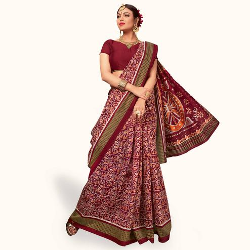 Beautiful Maroon Colored Casual Wear Printed Art Silk Saree