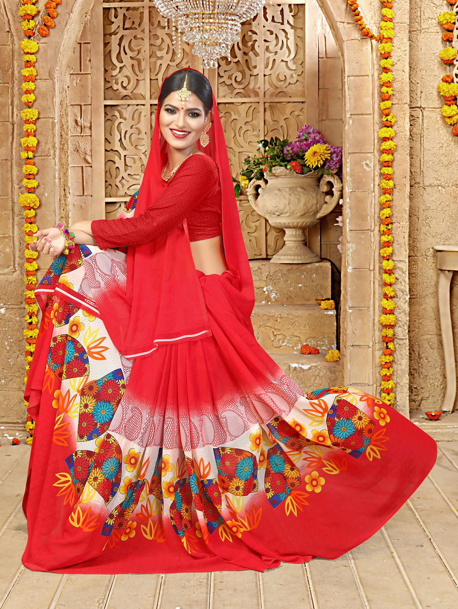 Red Printed Casual Wear Saree