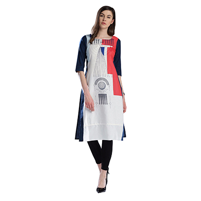White Printed Casual Wear American Crape Kurti