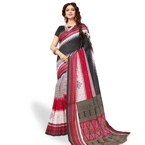 Graceful Multi Colored Casual Wear Printed Art Silk Saree
