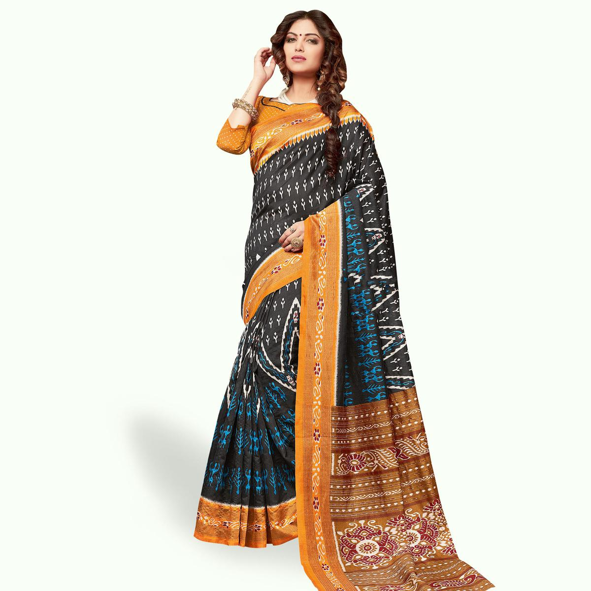 Blooming Black Colored Casual Wear Printed Art Silk Saree