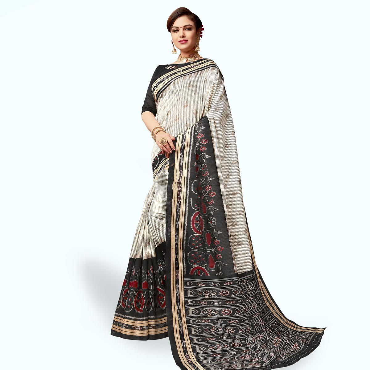 Charming Off White Colored Casual Wear Printed Art Silk Saree