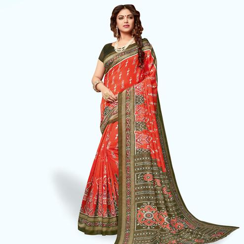 Jazzy Coral Red Colored Casual Wear Printed Art Silk Saree