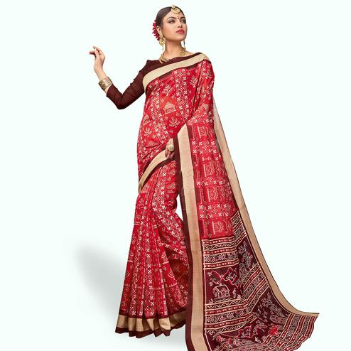Engrossing Red Colored Casual Wear Printed Art Silk Saree