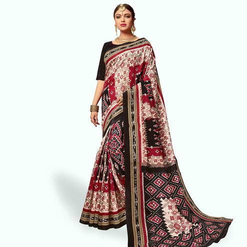 Captivating Cream - Black Colored Casual Wear Printed Art Silk Saree