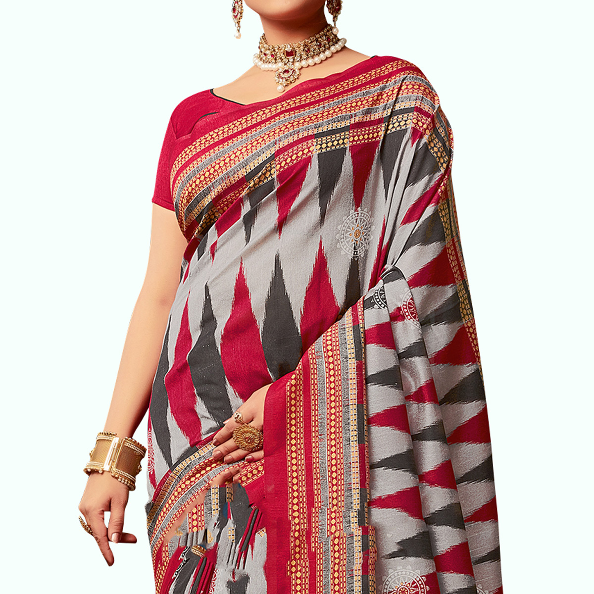 Innovative Gray - Red Colored Casual Wear Printed Art Silk Saree