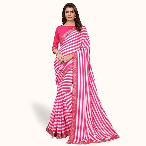 Eye-catching Pink Colored Party Wear Georgette Saree