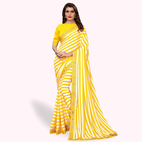Fantastic Yellow Colored Party Wear Georgette Saree