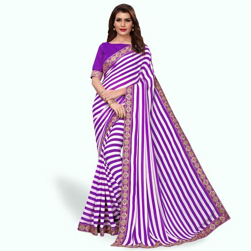 Amazing Purple Colored Party Wear Georgette Saree