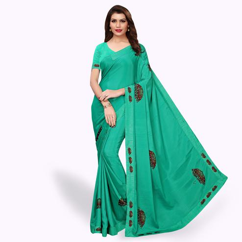 Gorgeous Turquoise Green Colored Party Wear Art Silk Saree