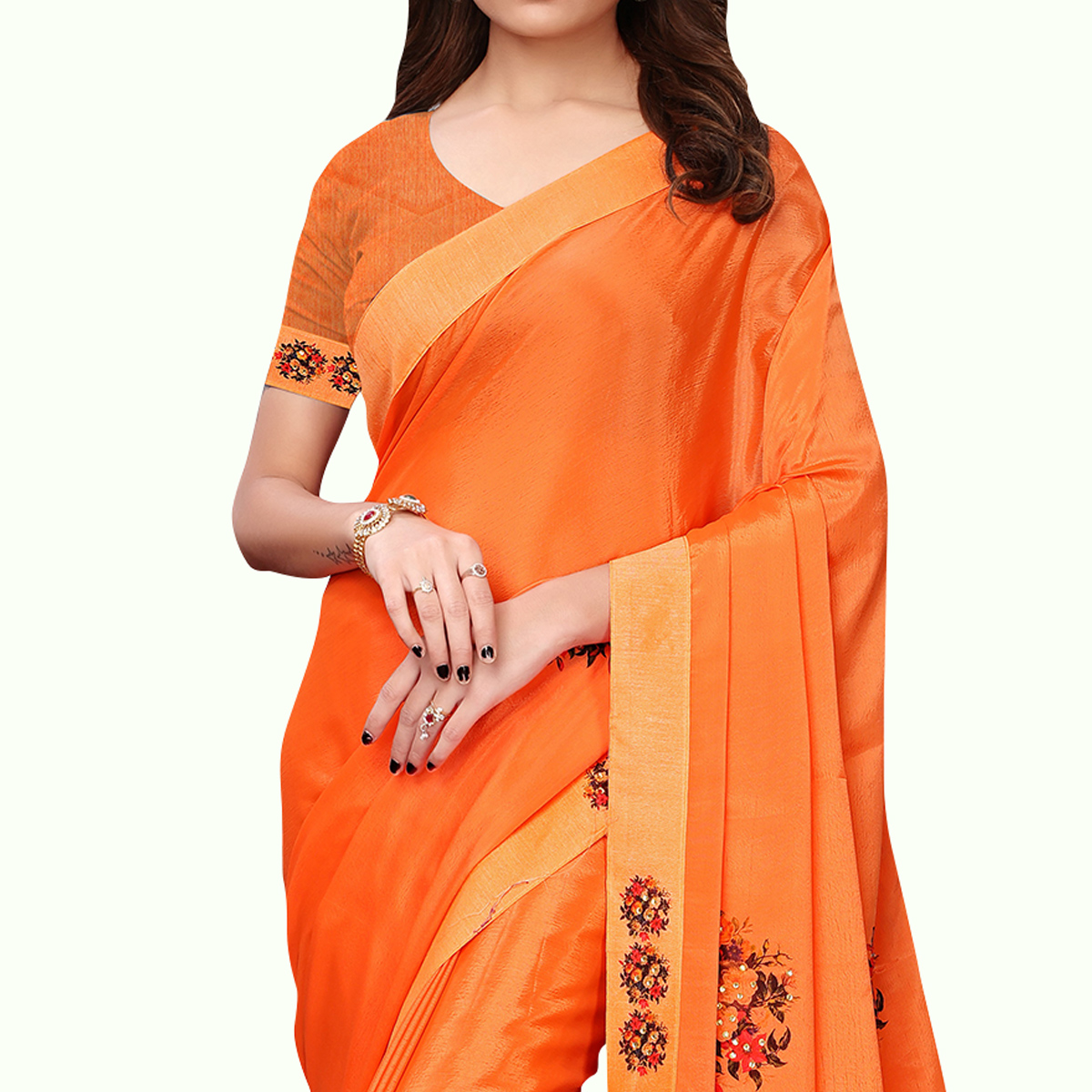 Blissful Orange Colored Party Wear Art Silk Saree