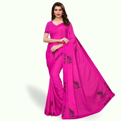 Ideal Rani Pink Colored Party Wear Art Silk Saree