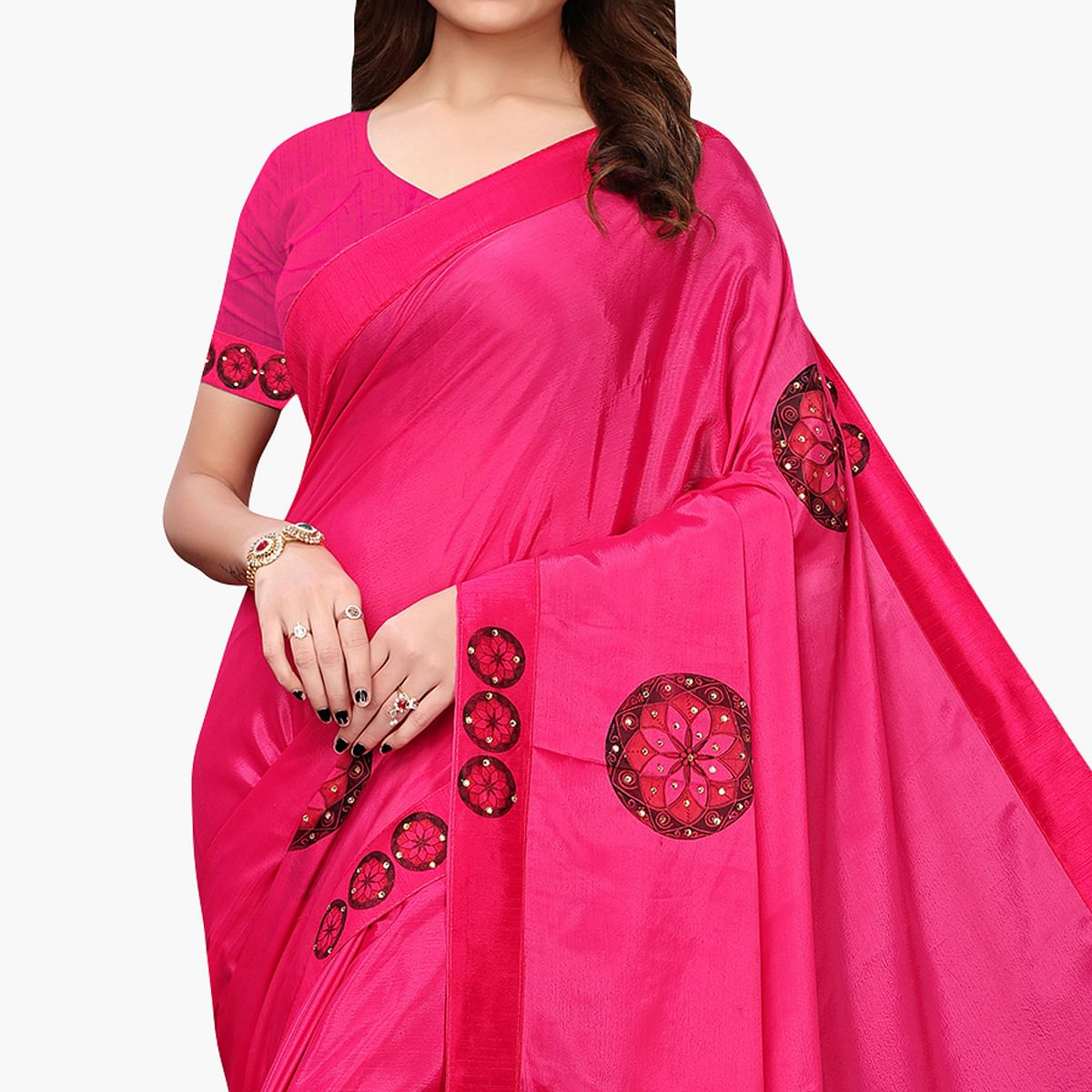Imposing Hot Pink Colored Party Wear Art Silk Saree