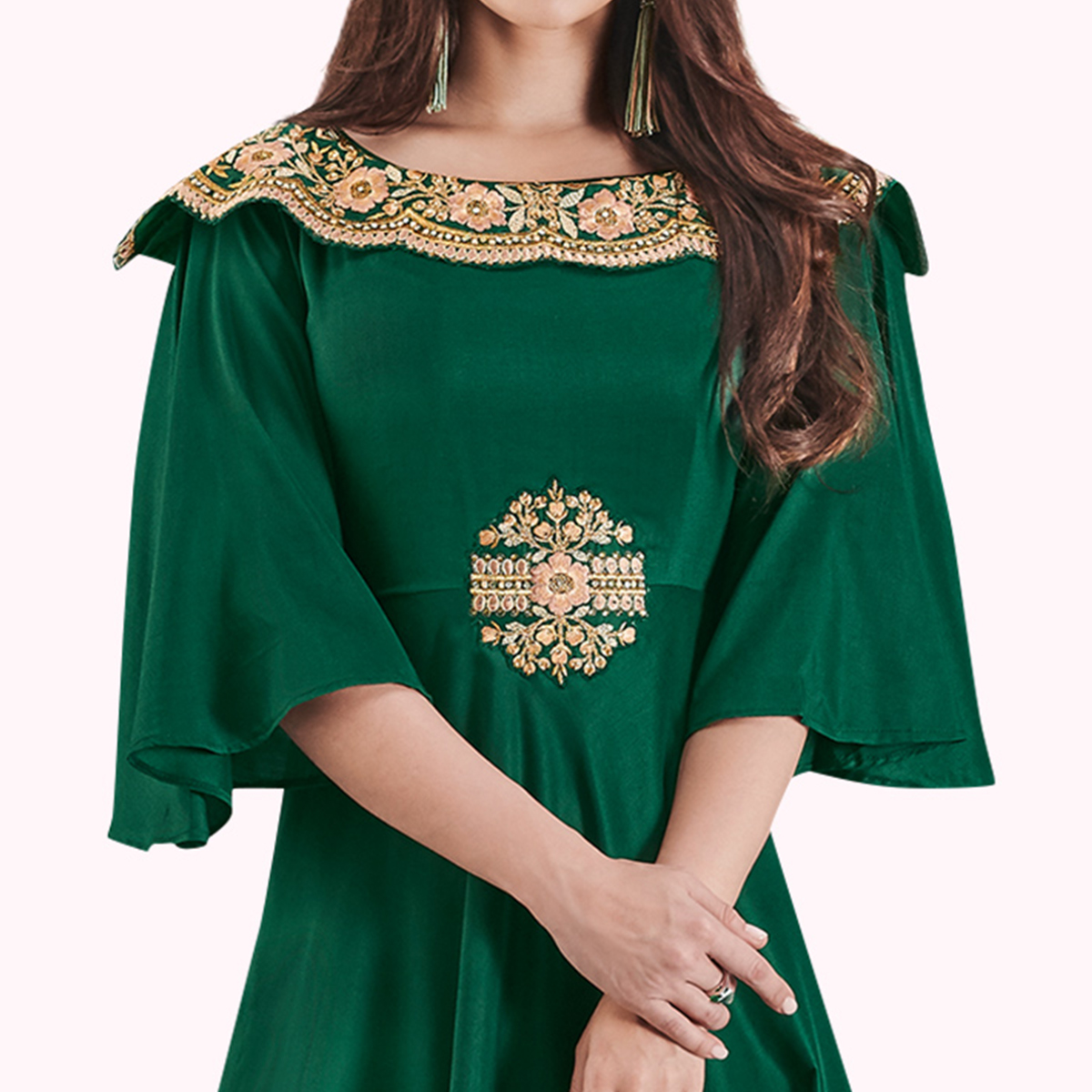 Trendy Dark Green Colored Party Wear Embroidered Cotton Silk Gown