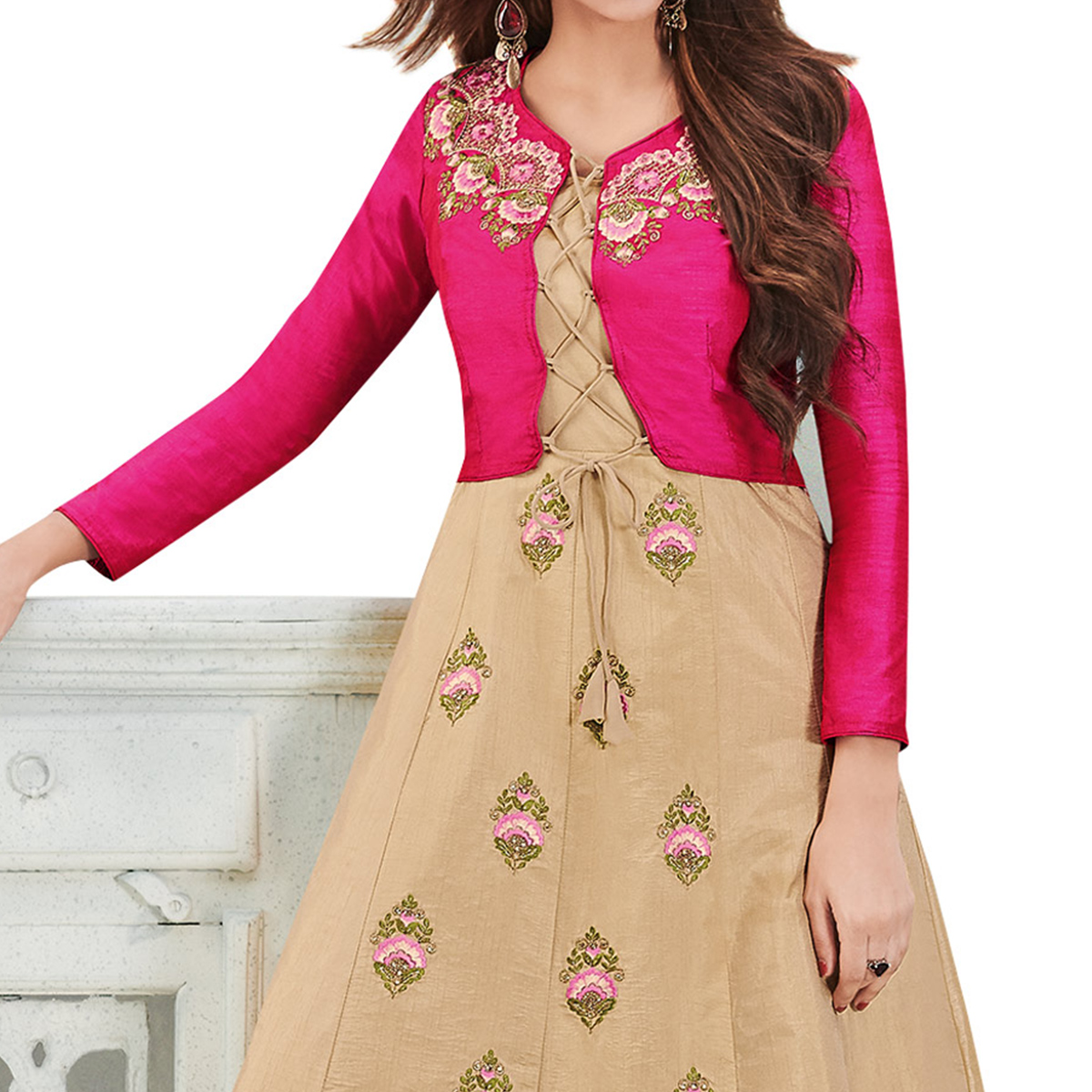 Elegant Beige - Pink Colored Party Wear Embroidered Banarasi With Tapeta Silk Gown