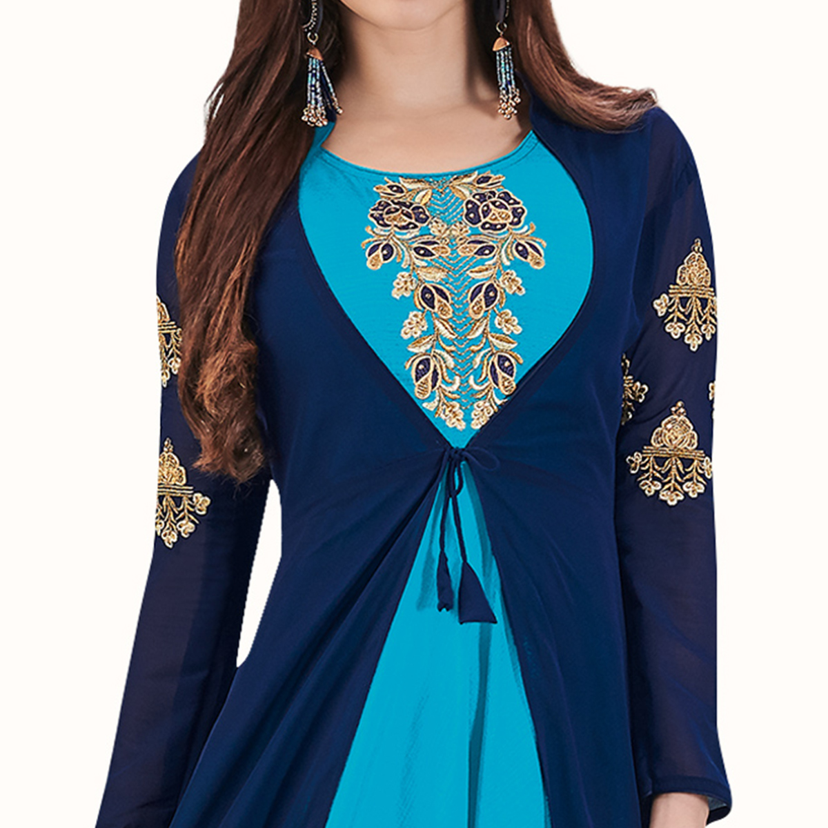 Radiant Blue Colored Party Wear Embroidered Banarasi Silk With Georgette Gown