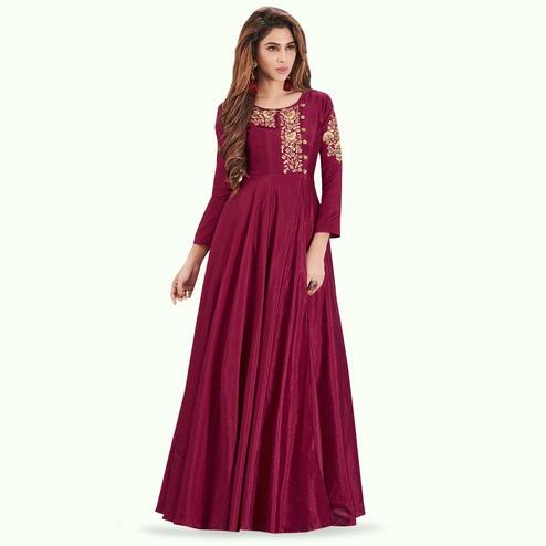 Pleasant Magenta Pink Colored Party Wear Embroidered Art Silk Gown
