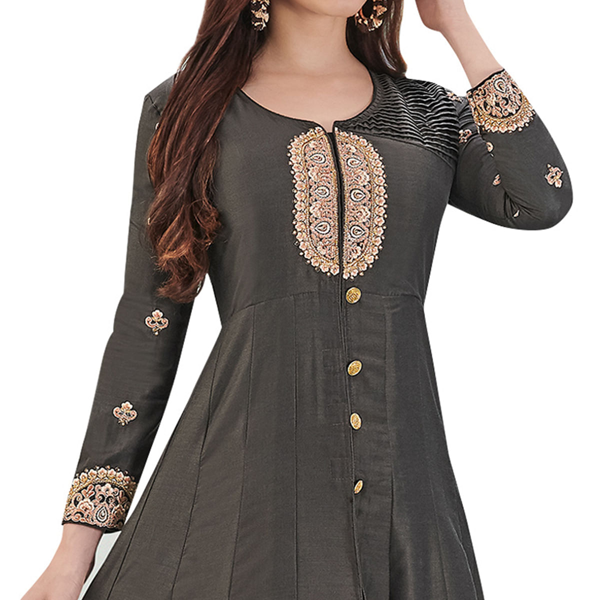 Opulent Blackish Gray Colored Party Wear Embroidered Cotton Silk Gown