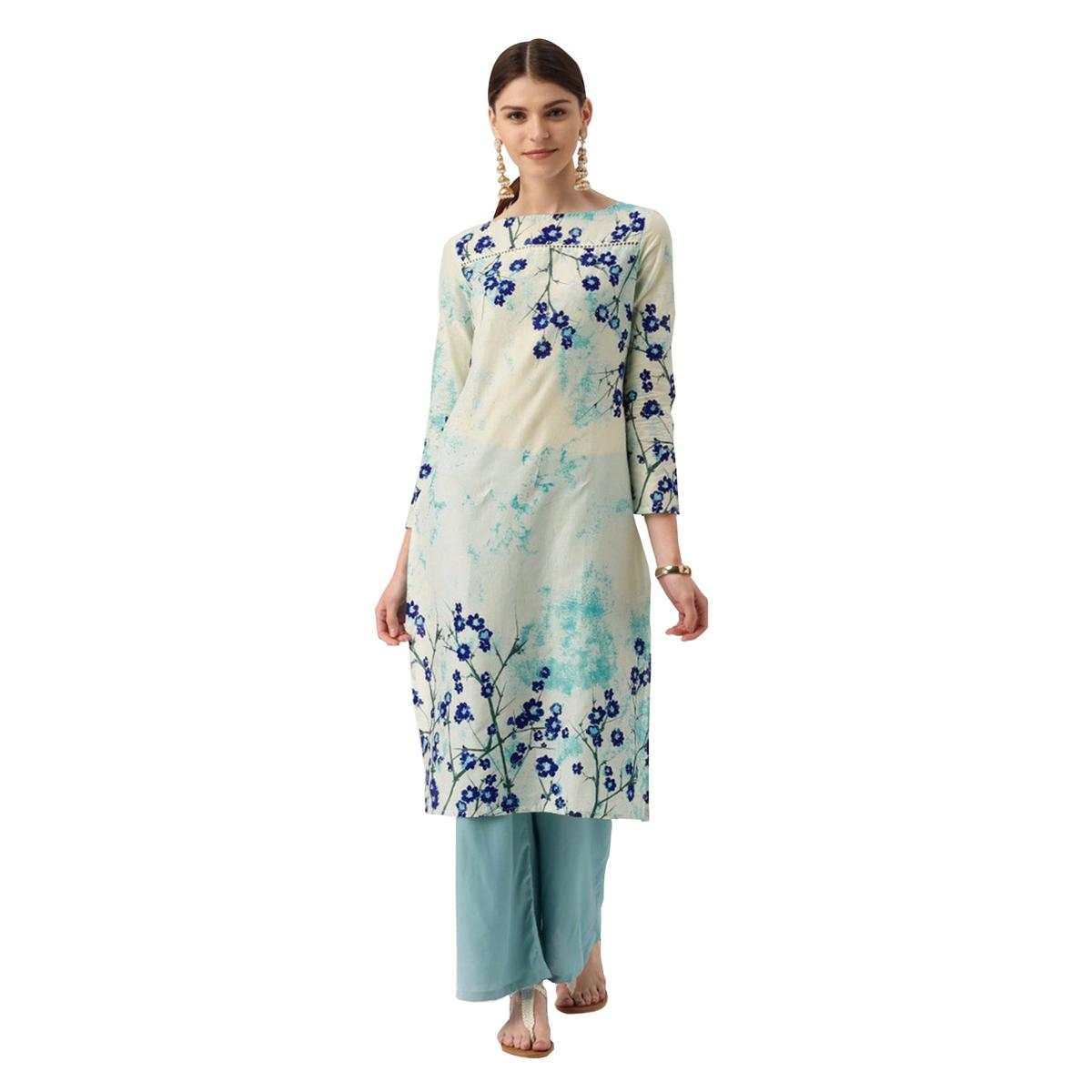 Off-White Floral Printed Casual Wear American Crape Kurti