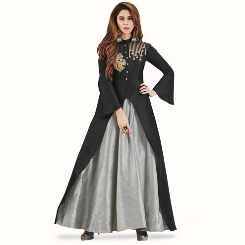 Energetic Black - Light Gray Colored Party Wear Embroidered Tapeta With Mulberry Silk Gown
