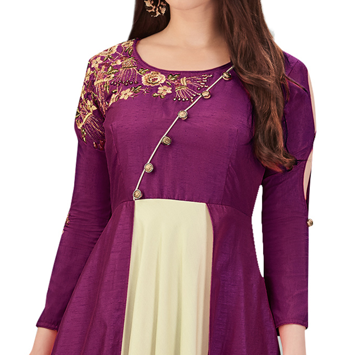 Jazzy Purple Colored Party Wear Embroidered Cotton Silk Gown
