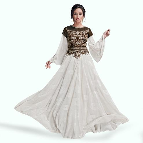 Intricate White Colored Partywear Embroidered Satin Silk Gown