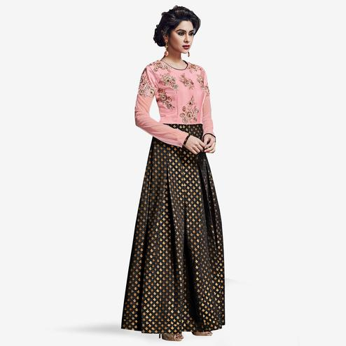 Arresting Pink-Black Colored Partywear Embroidered Satin Silk Gown