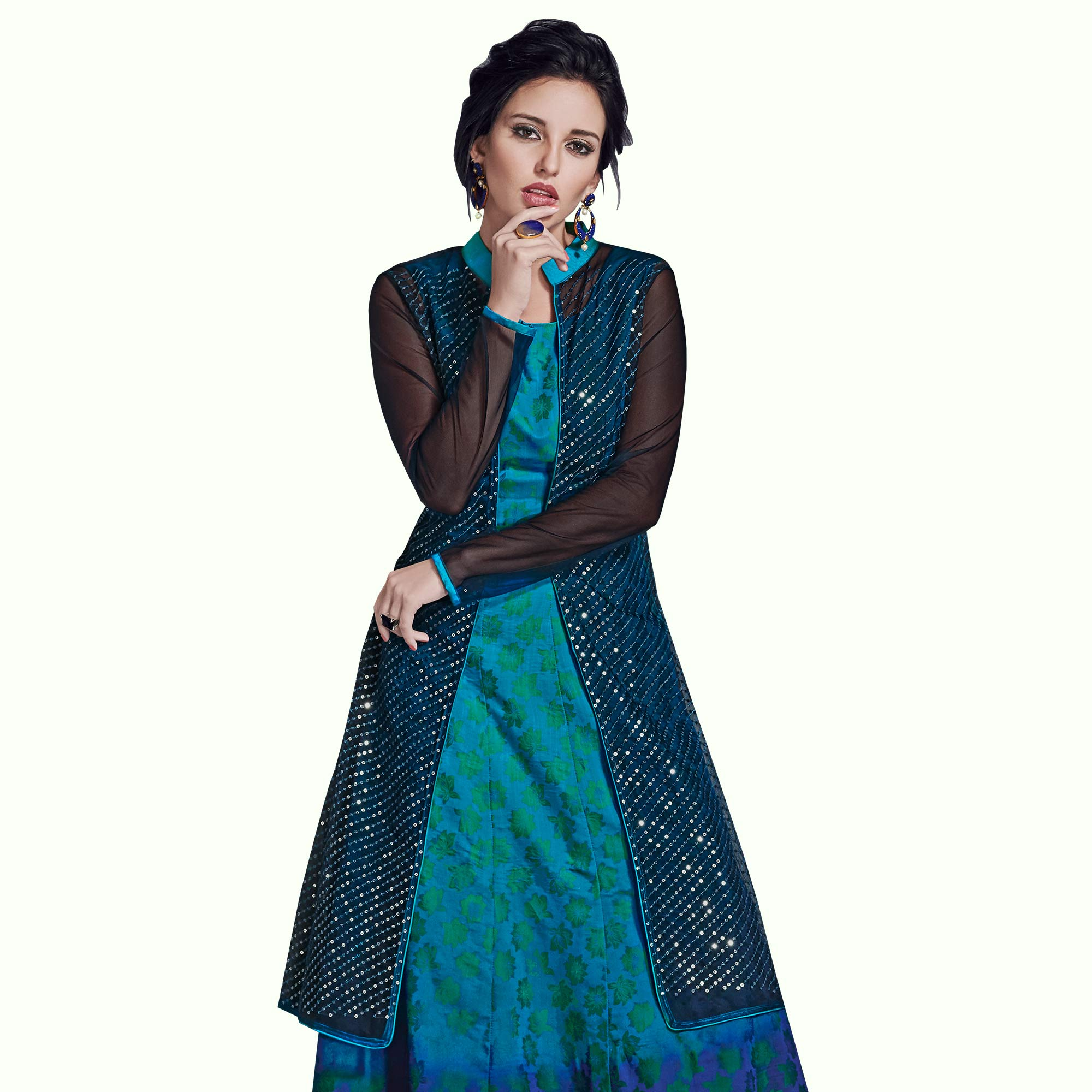 Desirable Blue Colored Partywear Printed Jacket Style Satin Silk Gown