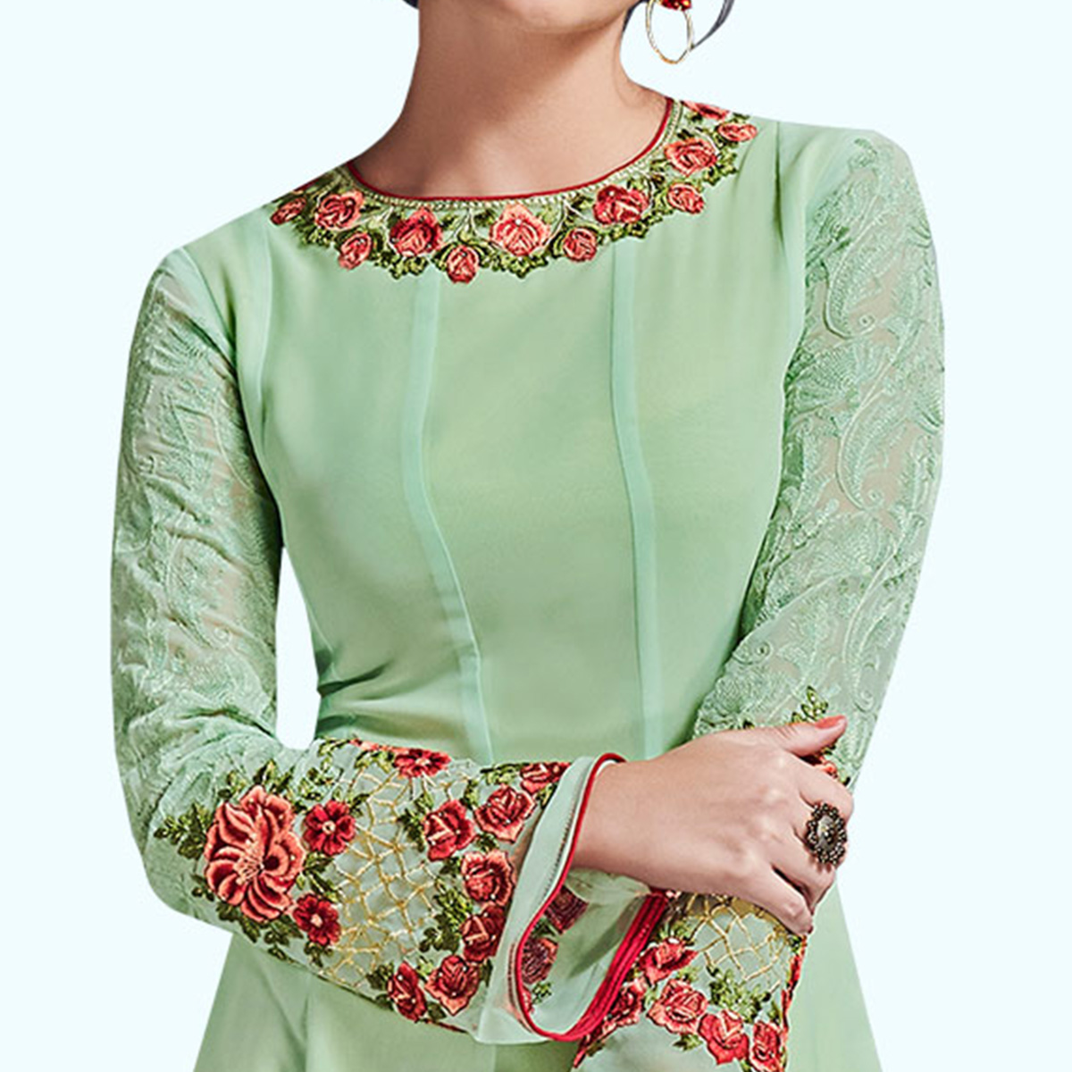 Exotic Pastel Green Colored Partywear Embroidered Satin Silk Gown