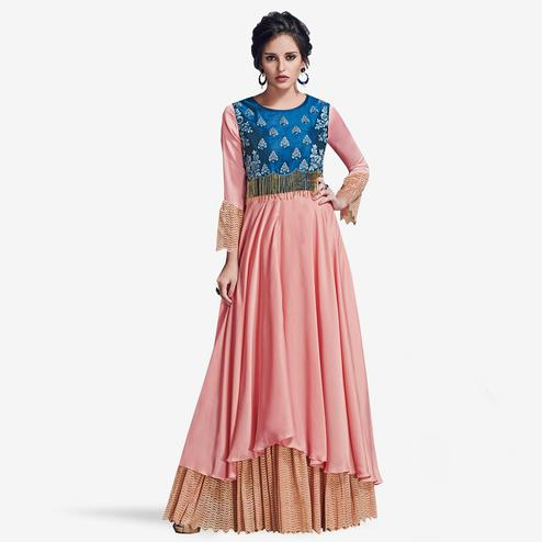 Sophisticated Pink Colored Partywear Embroidered Satin Silk Gown