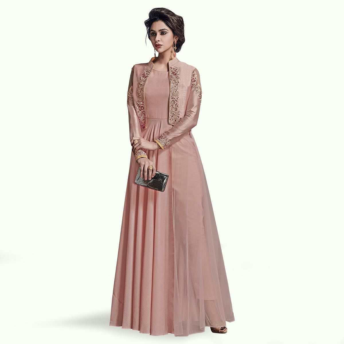 Pleasant Light Mauve Colored Partywear Embroidered Jacket Style Satin Silk Gown
