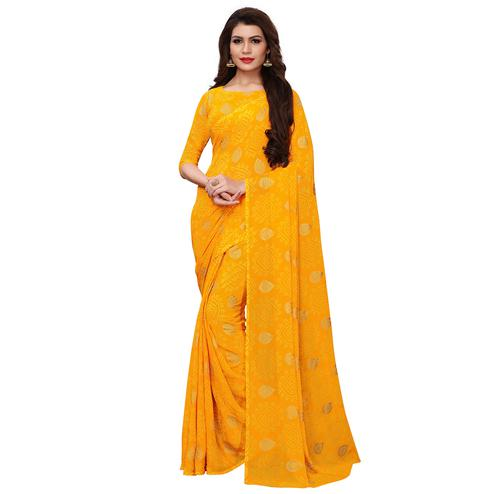 Lovely Yellow Colored Party Wear Chiffon Saree