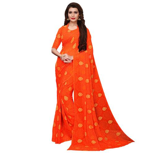 Majesty Orange Colored Party Wear Chiffon Saree