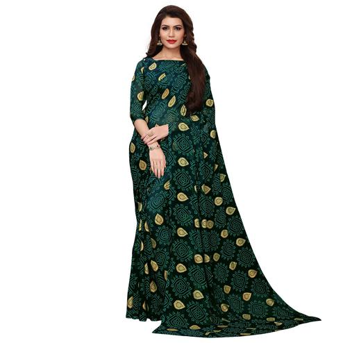 Impressive Dark Green Colored Party Wear Chiffon Saree