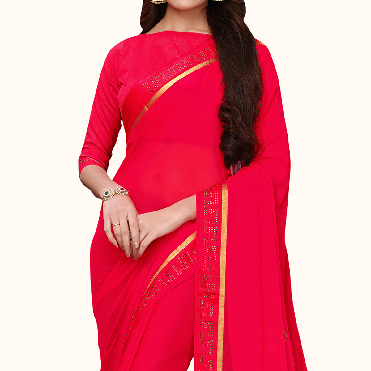 Mesmerising Pink Colored Party Wear Georgette Saree