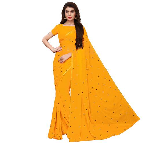 Pleasance Yellow Colored Party Wear Chiffon Saree