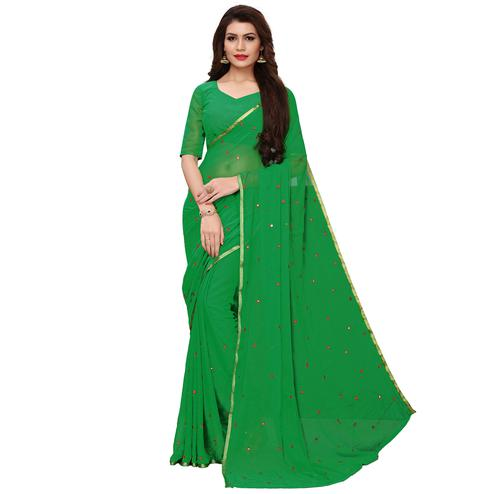 Breathtaking Green Colored Party Wear Chiffon Saree