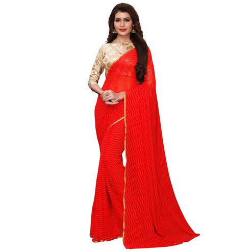 Ravishing Red Colored Party Wear Chiffon Saree