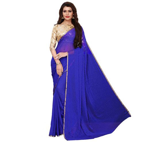 Staring Blue Colored Party Wear Chiffon Saree